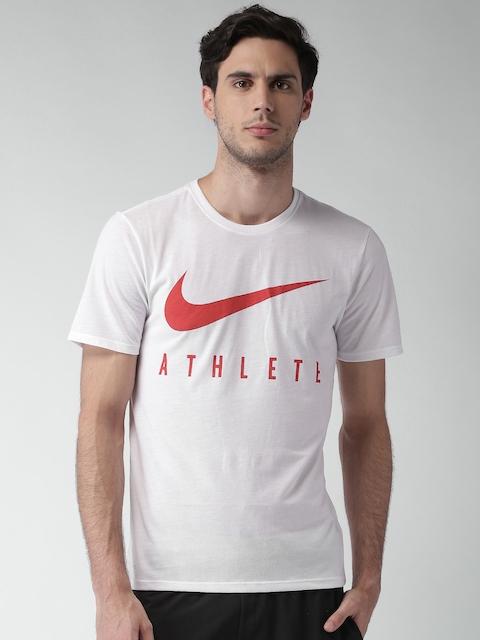 Nike Men White AS Dry DB Athlete Printed T-shirt