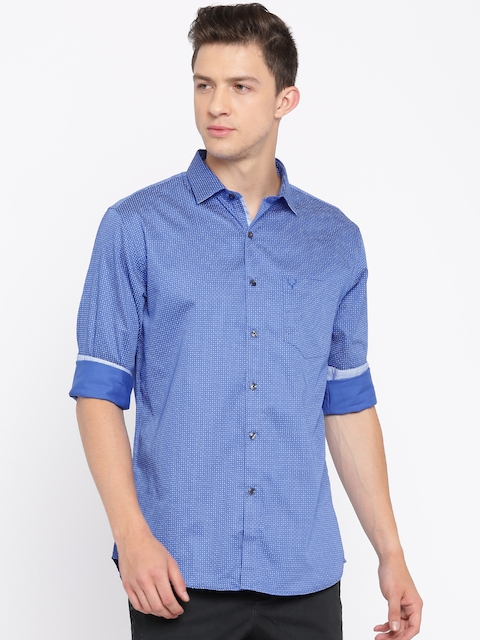 Allen Solly Men Blue & White Sport Fit Printed Casual Shirt