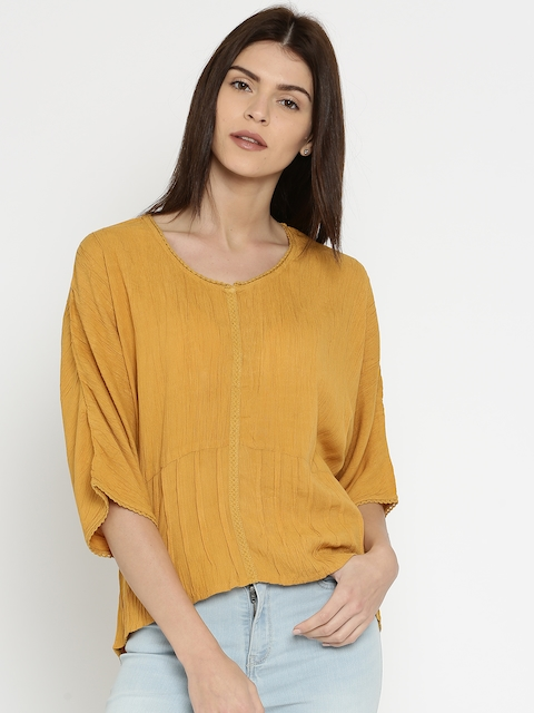 DressBerry Women Mustard Yellow Solid High-Low Top