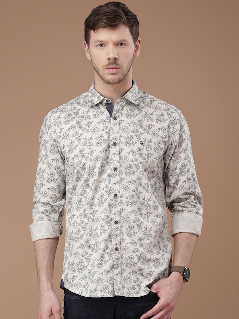 Louis Philippe Jeans Men Beige Jermyn Tailored Fit Printed Casual Shirt