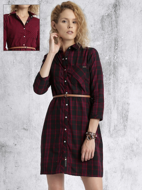 Roadster Women Black & Red Reversible Checked Shirt Dress