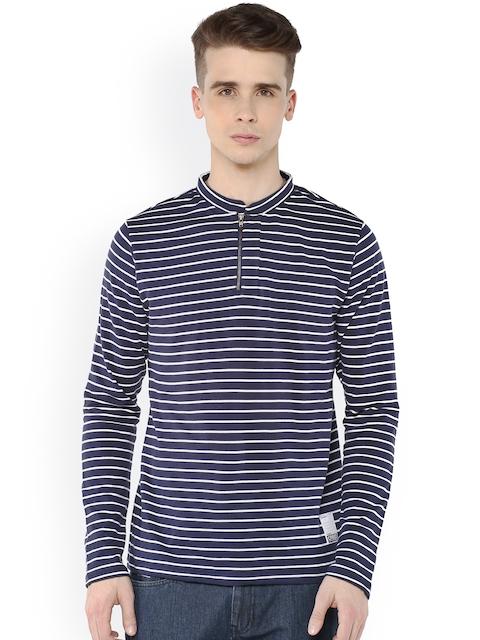 Atorse Navy & White Striped Sweatshirt