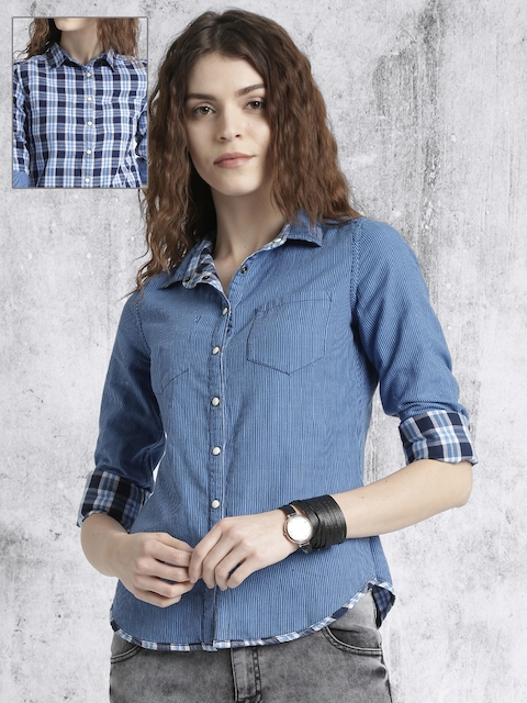 Roadster Women Blue & White Reversible Checked Casual Shirt