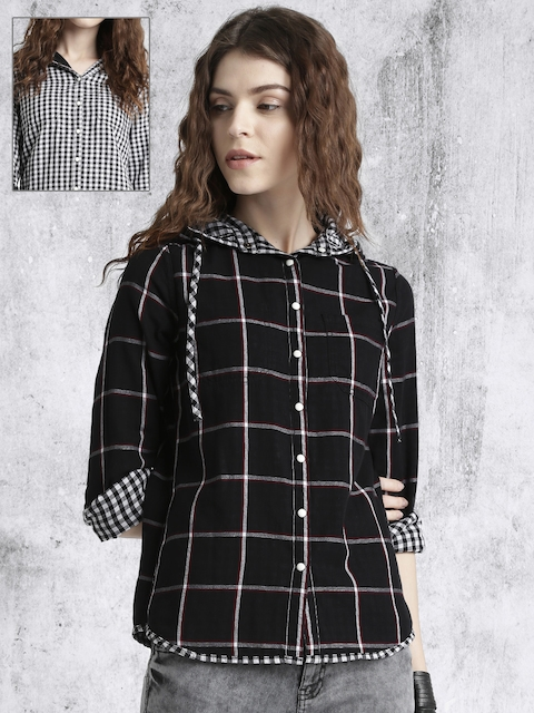 Roadster Women Black Reversible Checked Casual Shirt