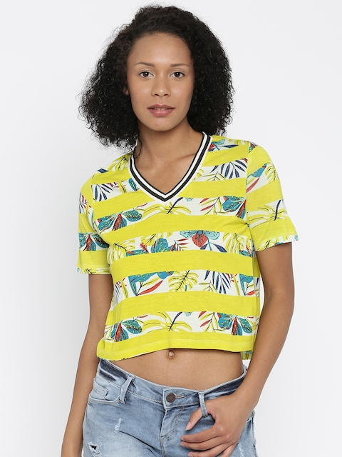 DressBerry Women Yellow Printed Boxy Crop Top