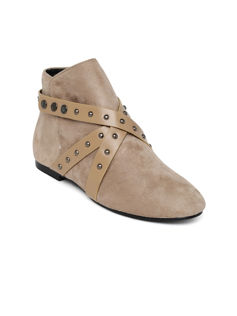 Bruno Manetti Women Beige Solid Mid-Top Flat Boots