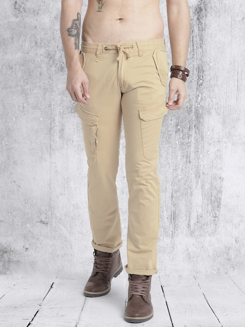RDSTR Men Beige Regular Fit Regular Trousers