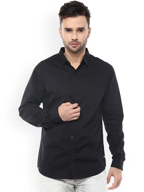SPYKAR Men Black Slim Fit Casual Shirt