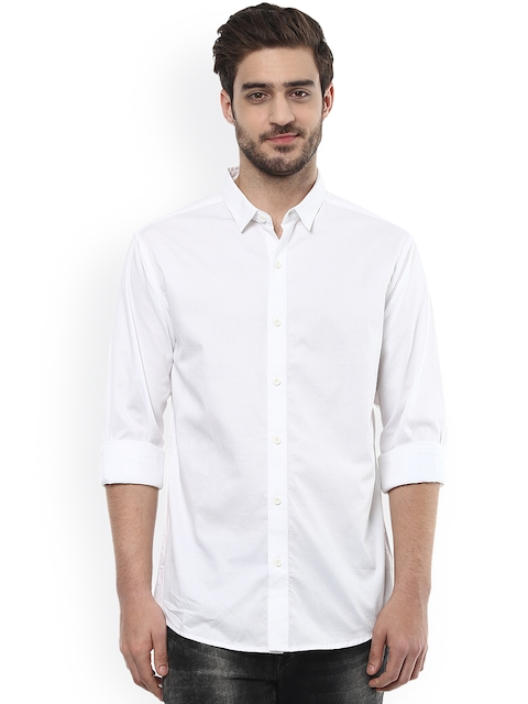 SPYKAR Men White Slim Fit Casual Shirt