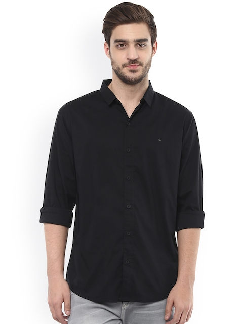 SPYKAR Men Black Slim Fit Casual Shirt