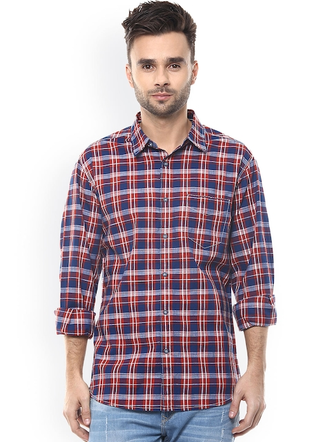 SPYKAR Men Red & Blue Slim Fit Checked Casual Shirt