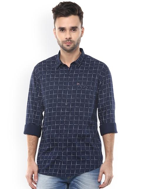 SPYKAR Men Navy Slim Fit Printed Casual Shirt