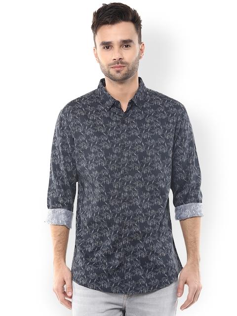 SPYKAR Men Charcoal Grey Slim Fit Printed Casual Shirt