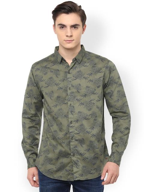 SPYKAR Men Olive Slim Fit Printed Casual Shirt