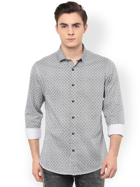 SPYKAR Men Black & White Slim Fit Printed Casual Shirt