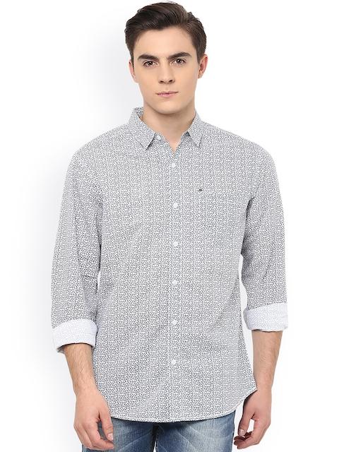 SPYKAR Men White & Black Slim Fit Printed Casual Shirt