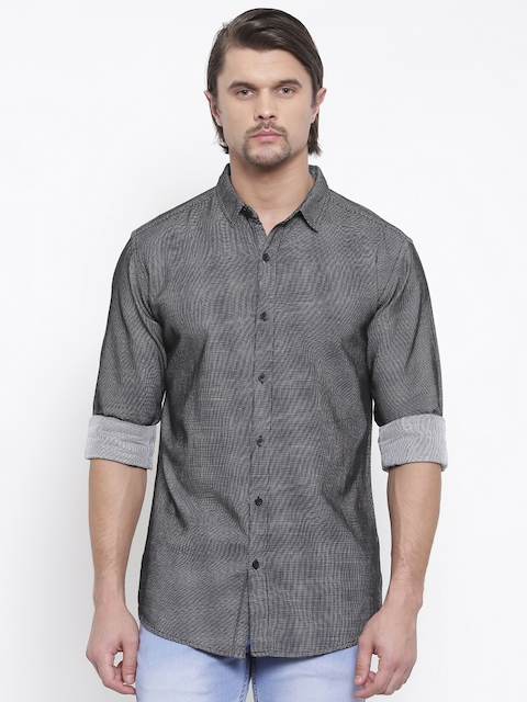 SPYKAR Men Black & White Regular Fit Self Design Casual Shirt