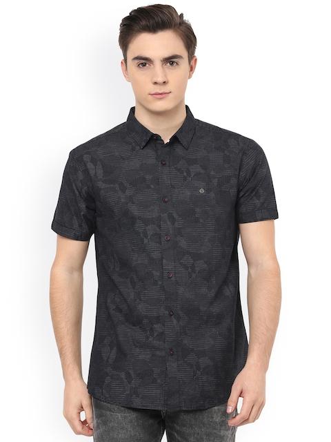 SPYKAR Men Black Slim Fit Self-Design Casual Shirt
