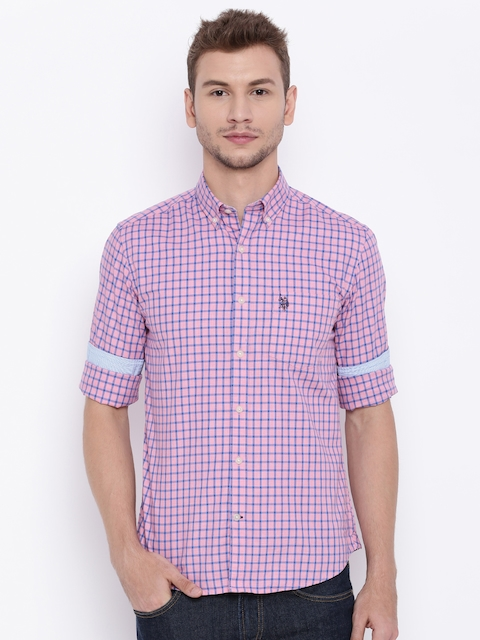 U.S. Polo Assn. Men Pink Checked Tailored Fit Casual Shirt