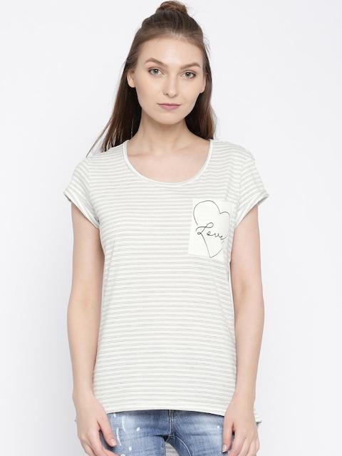 Vero Moda Off-White Striped High-Low Top