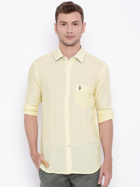 U.S. Polo Assn. Men Yellow Tailored Fit Solid Casual Shirt