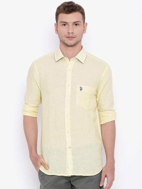 U.S. Polo Assn. Men Yellow Tailored Fit Solid Casual Linen Shirt