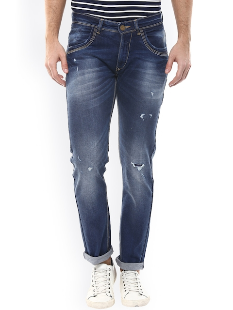 SPYKAR Men Blue Skinny Fit Low-Rise Mildly Distressed Jeans