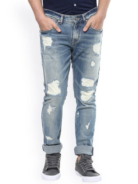 SPYKAR Men Blue Skinny Fit Low-Rise Highly Distressed Jeans