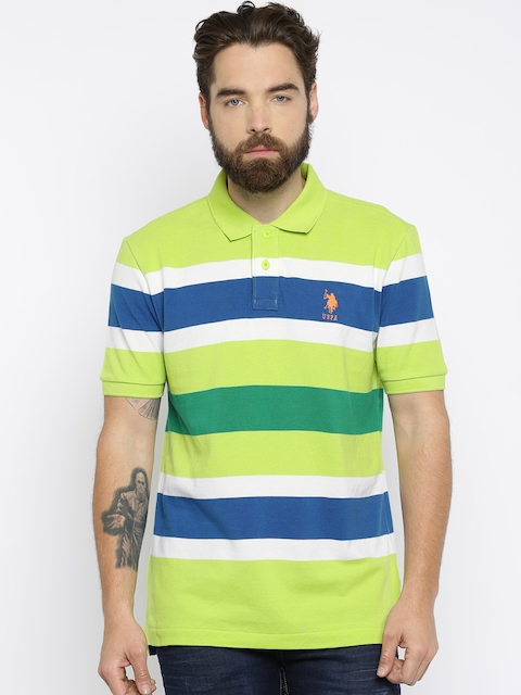 U.S. Polo Assn. Men Lime Green Striped Polo T-whirt
