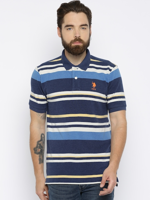 U.S. Polo Assn. Men Navy & White Striped Polo T-shirt