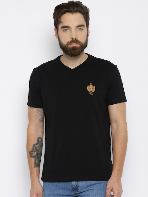 U.S. Polo Assn. Men Black Solid V-Neck T-shirt