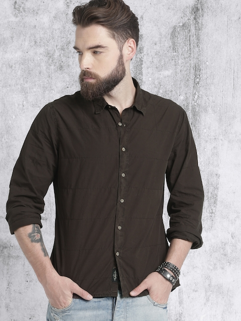 Roadster Men Brown Regular Fit Casual Shirt with Zipper Back Pocket