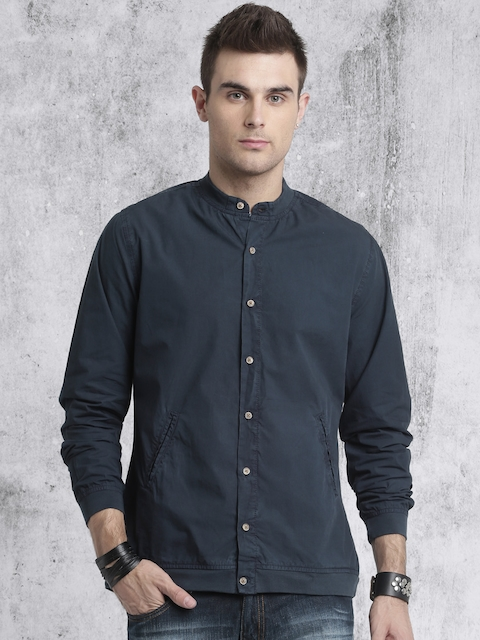 Roadster Men Navy Blue Solid Casual Shirt
