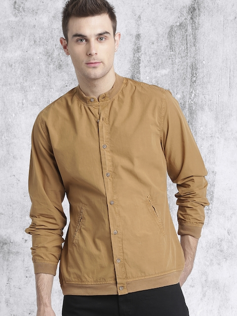 RDSTR Men Khaki Regular Fit Solid Casual Shirt