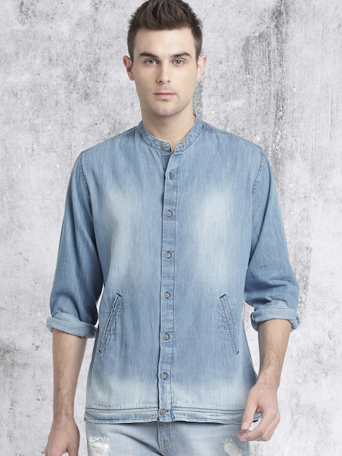 RDSTR Men Blue Regular Fit Faded Casual Shirt