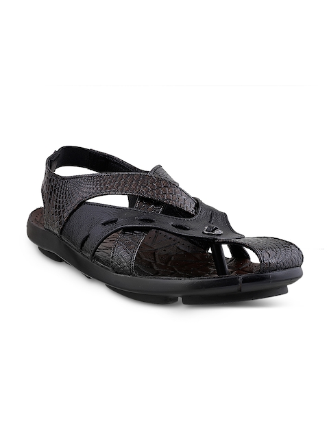 Mochi Men Black Textured Leather Sandals