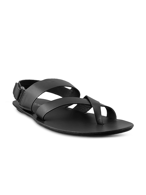 Mochi Men Black Leather Sandals