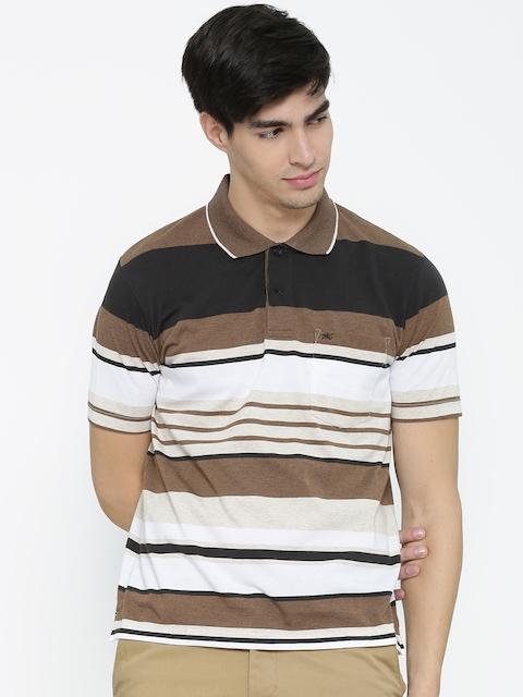 Monte Carlo Men Brown Striped Polo Collar T-shirt
