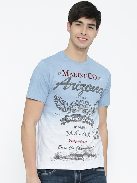 Monte Carlo Men Blue Printed Round Neck T-shirt