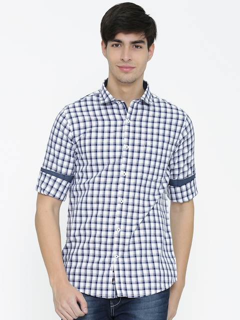 Monte Carlo Men Navy Checked Casual Shirt