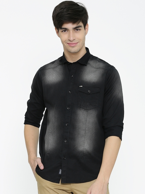 Monte Carlo Men Black Printed Casual Shirt