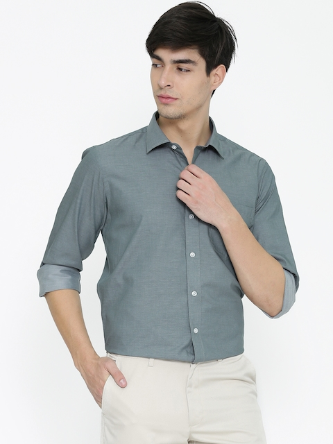 Monte Carlo Men Grey Solid Casual Shirt