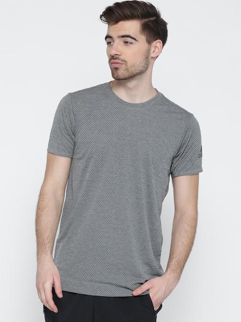 Adidas Men Grey Melange Freelift CHILL2 Striped Round Neck T-shirt
