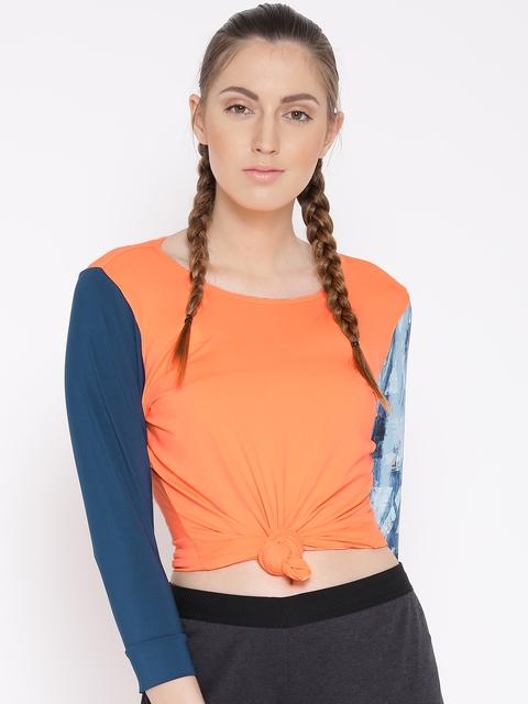 Adidas Women Orange ESSEX Solid Round Neck T-shirt