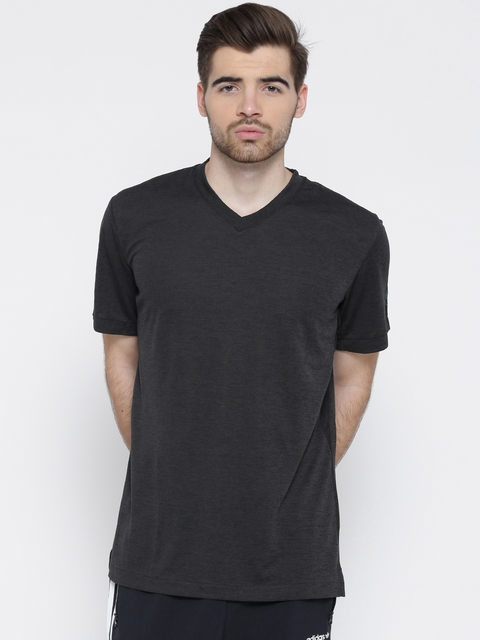Adidas Men Charcoal Grey UNCTL CLMCH Solid V-Neck T-shirt