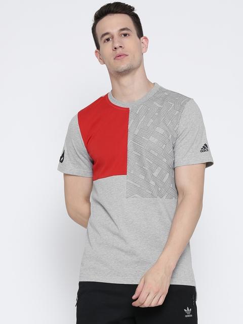 Adidas Men Grey Melange Dame Colourblocked Round Neck T-shirt