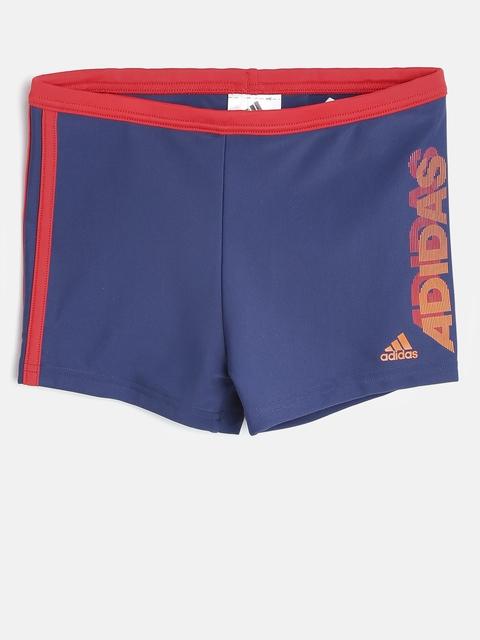 Adidas Boys Navy YB LIN BX 3S KB Printed Swim Shorts BJ9672