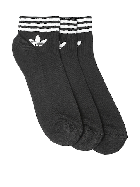 Adidas Originals Unisex Pack of 3 Black TREFOIL ANK STR Ankle-Length Socks
