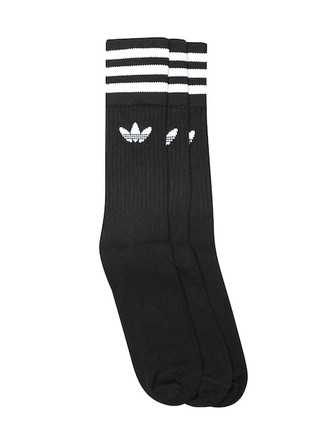Adidas Originals Unisex Pack of 3 Black Crew Above Ankle-Length Socks