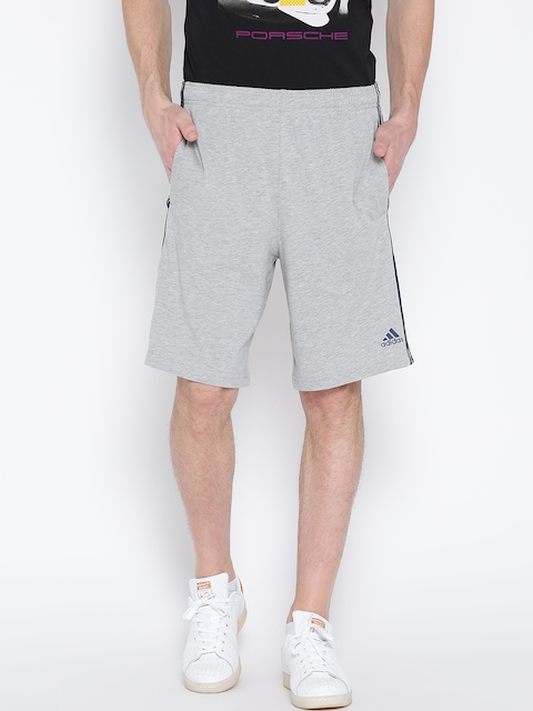 Adidas Men Grey Melange ESS 3S COFT Solid Sports Shorts  available at myntra for Rs.679